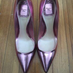 Christian DIOR pink metallic leather heels AMAZING